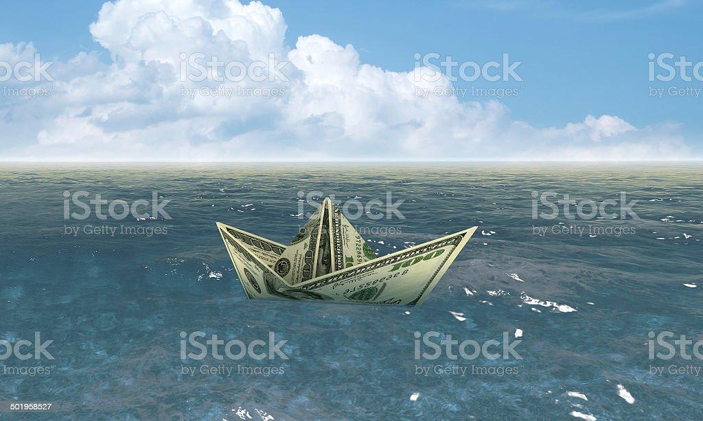 Dollar-Schiff in Wasser-Wirtschaft-Konzept – Foto