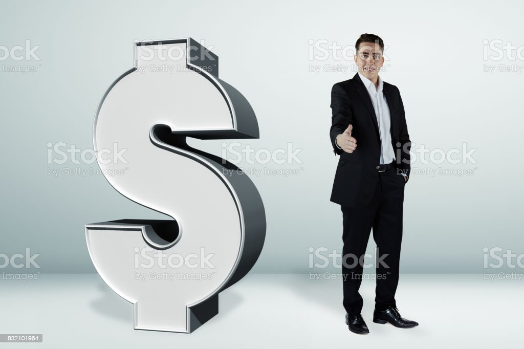 3D dollar sign and the businessman stock photo