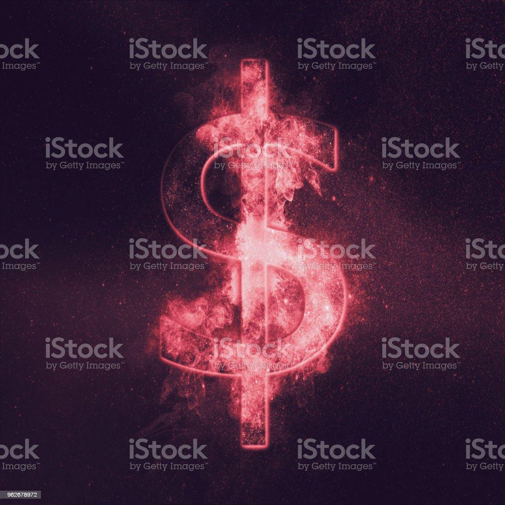 Dollar sign, Dollar Symbol. Monetary currency symbol. Abstract night sky background. stock photo
