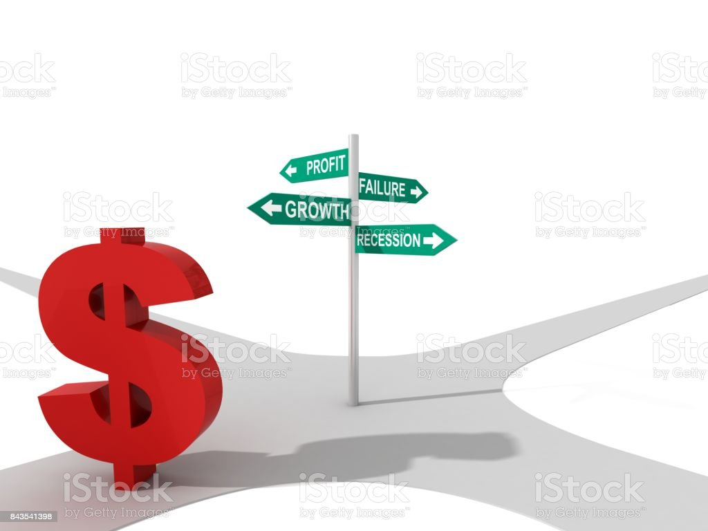 Dollar sign economics road direction sign concept stock photo