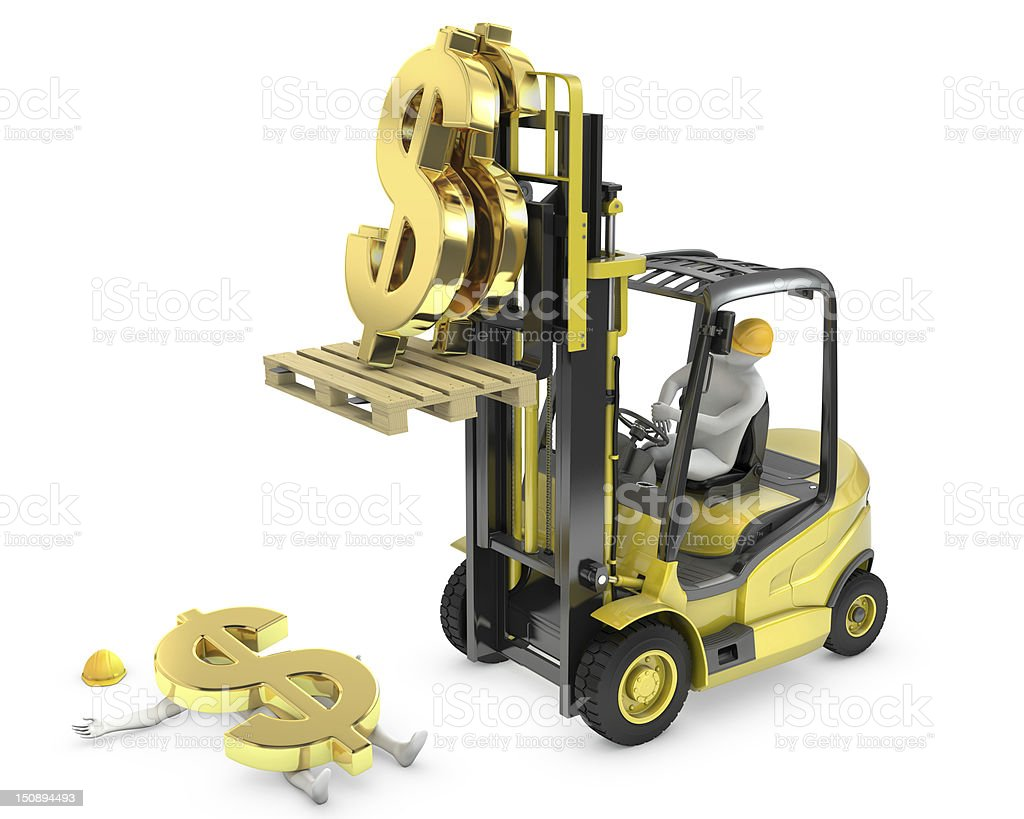 Dollar sign fell from fork lift truck and hit worker stock photo