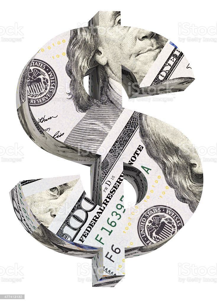 Dollar sign from dollar bill alphabet set isolated over white. stock photo
