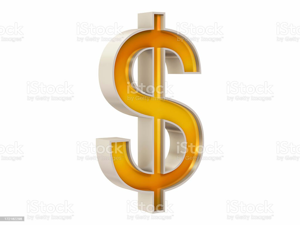 Dollar Sign I - Silver & Gold (with Clipping Path) royalty-free stock photo