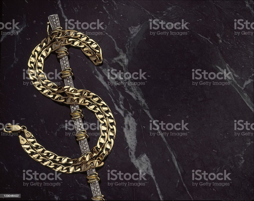 Dollar sign in diamonds and gold. royalty-free stock photo