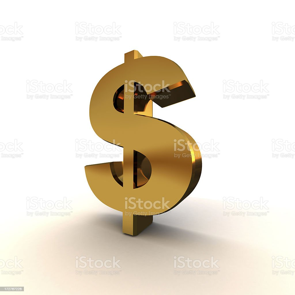 Dollar sign in gold royalty-free stock photo
