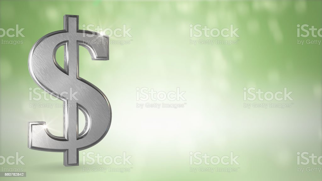 Dollar sign in silver with text space conceptual background stock photo