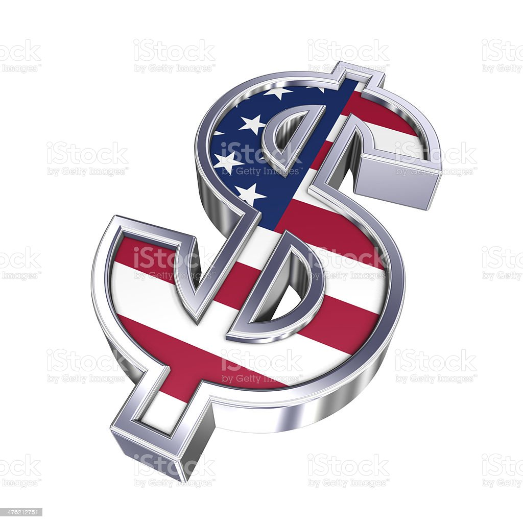 Dollar sign isolated on white royalty-free stock photo