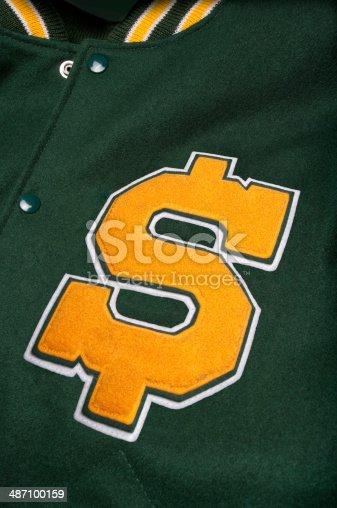 istock Dollar sign lettermans jacket 487100159