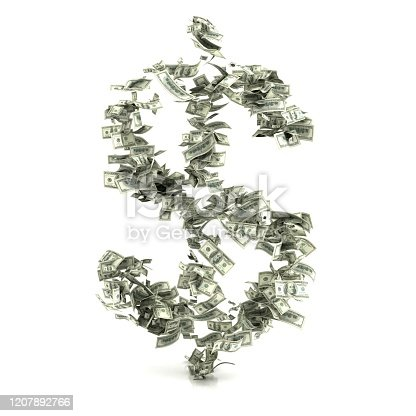 Dollar Sign Made of Banknotes isolated on white