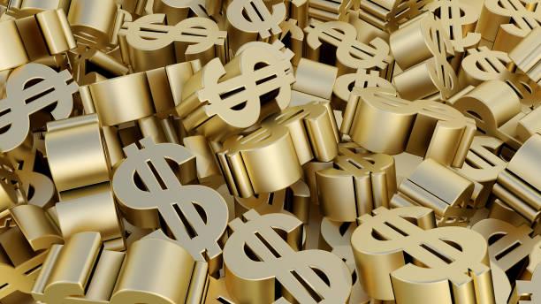 dolar znak pieniądze złoto finanse sprzedaż kupić oszczędność gospodarki 3d ilustracja - duża grupa obiektów zdjęcia i obrazy z banku zdjęć