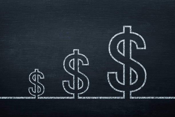 Dollar Sign on Blackboard Growth Concept stock photo