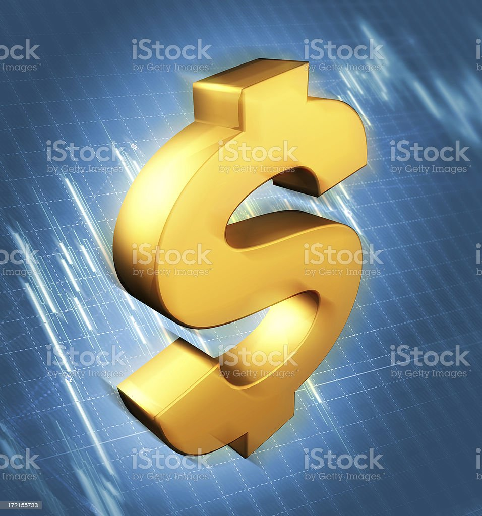 Dollar sign on blue chart background royalty-free stock photo