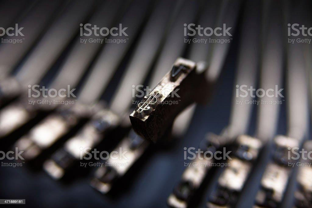 Dollar Sign on Typewriter Hammer royalty-free stock photo