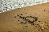 close up shot of dollar sign on  beach.