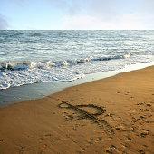 dollar sign on empty beach.
