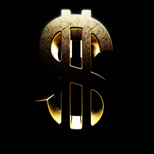 dollar sign - money black background stock photos and pictures