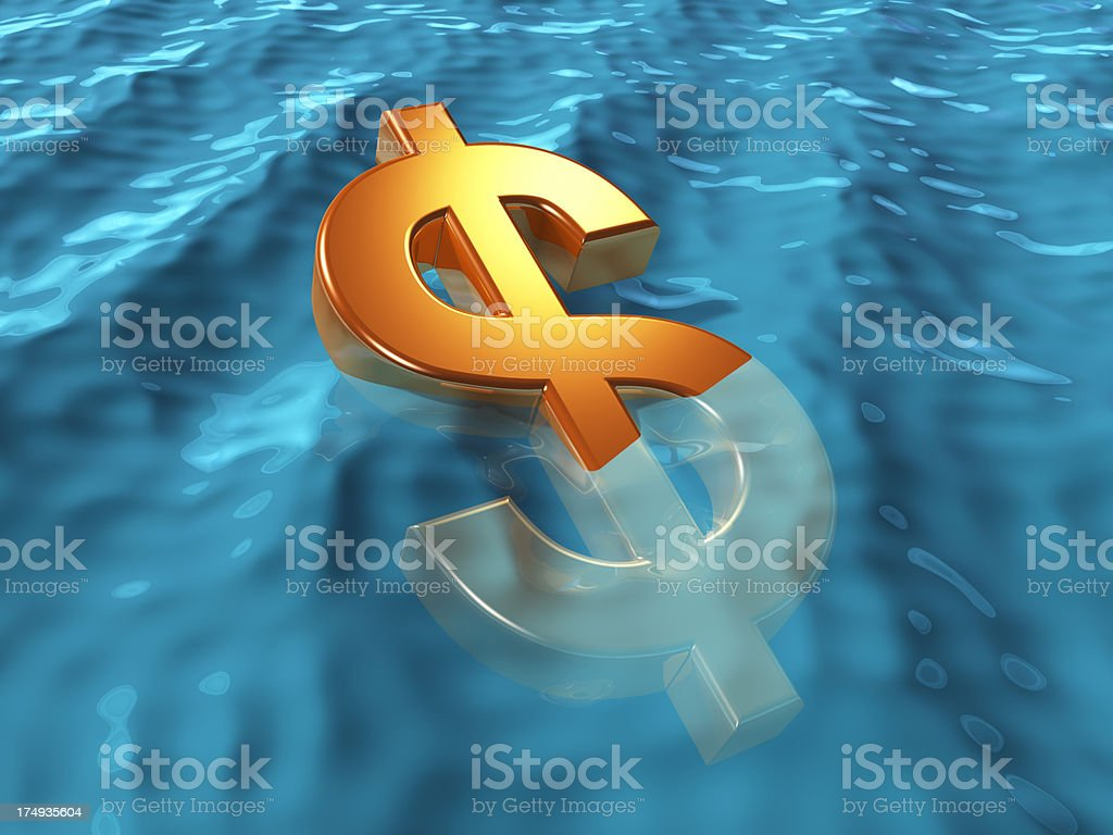 Dólar de recostarte en agua. - foto de stock