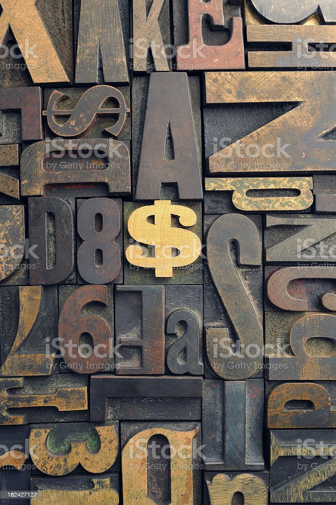 Dollar Sign - Vintage Wood Letterpress.Series royalty-free stock photo