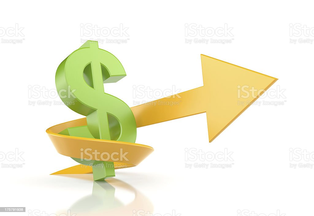 Dollar sign with arrow. Symbolize growth royalty-free stock photo
