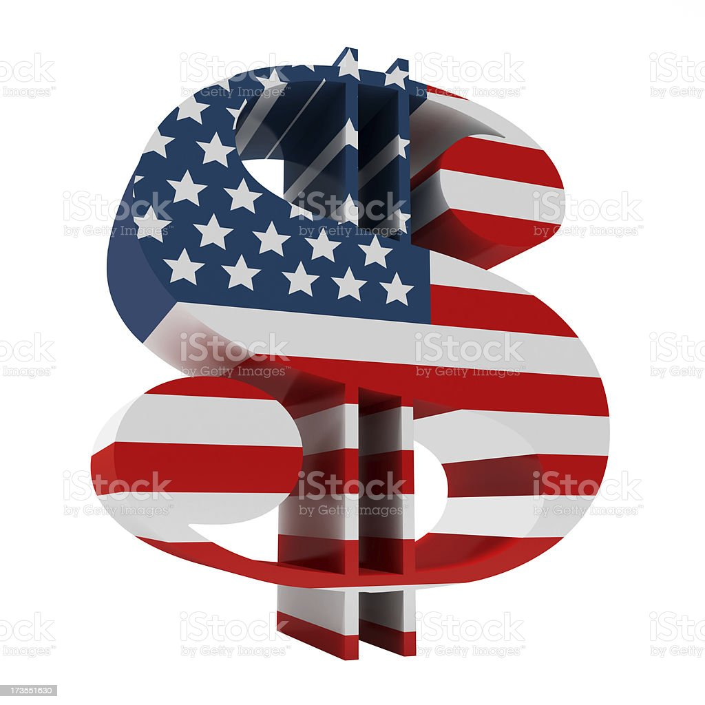 3D Dollar sign with Us Flag Full 3D render of dollar sign with us flag on it isolated on white American Culture Stock Photo