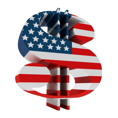 3d Dollar Sign With Us Flag Stock Photo - Download Image Now