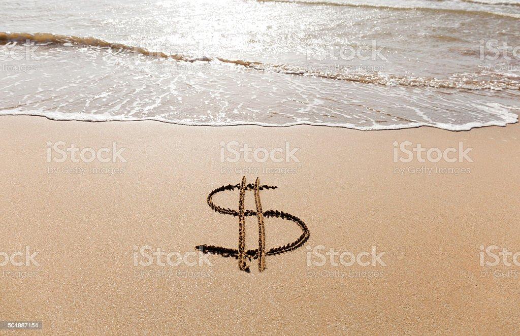 Dollar Sign Written In The Sand On A Beach Stock Photo Istock
