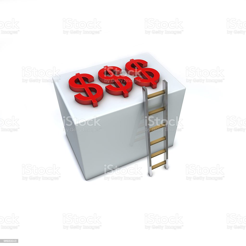 Dollar signs on top of a box reachable by ladder royalty-free stock photo