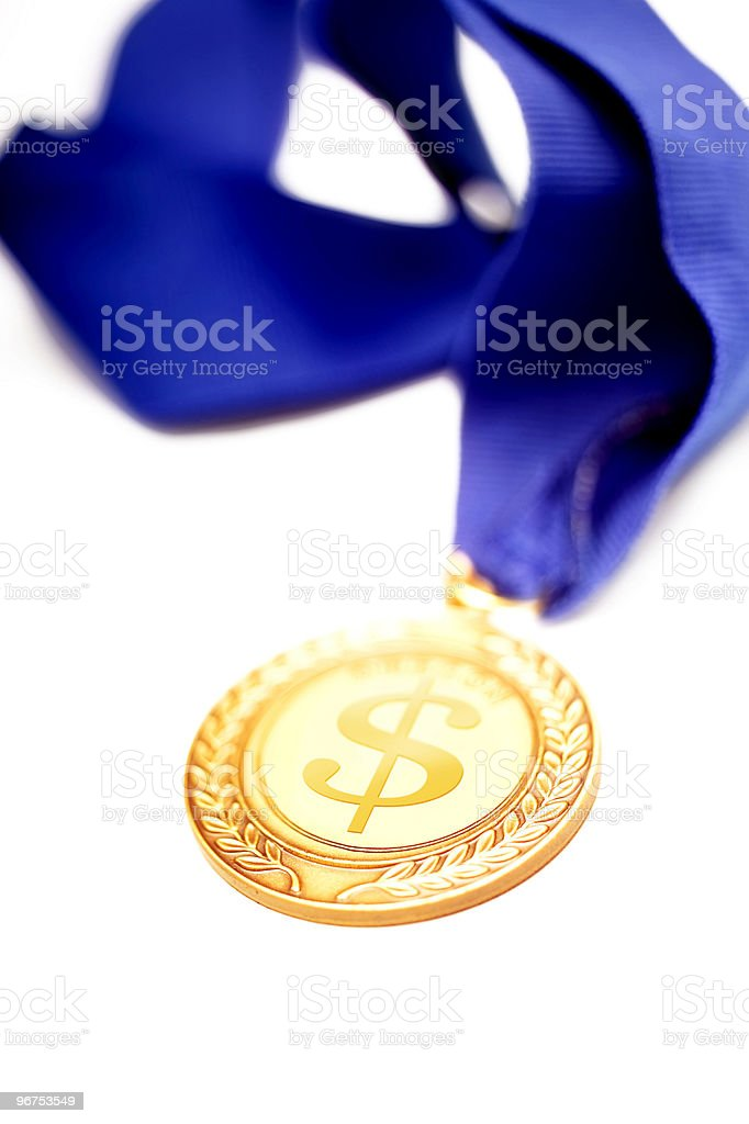 dollar sing on gold medal royalty-free stock photo