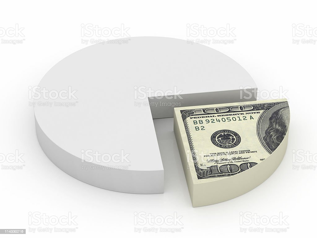 Dollar slice out of a pie chart, one quarter stock photo