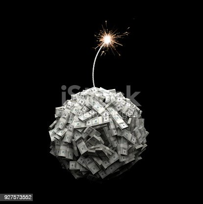 Bundles of US $100 notes form the shape of a globe and a fuse burns down towards the spherical mass of notes. This arrangement represents the current state of the world's economy as a ticking time bomb about to explode.