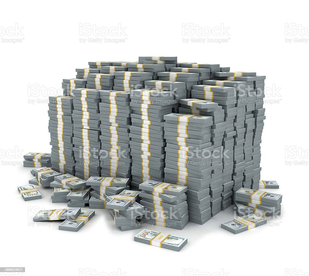 Dollar stack over white background  stock photo