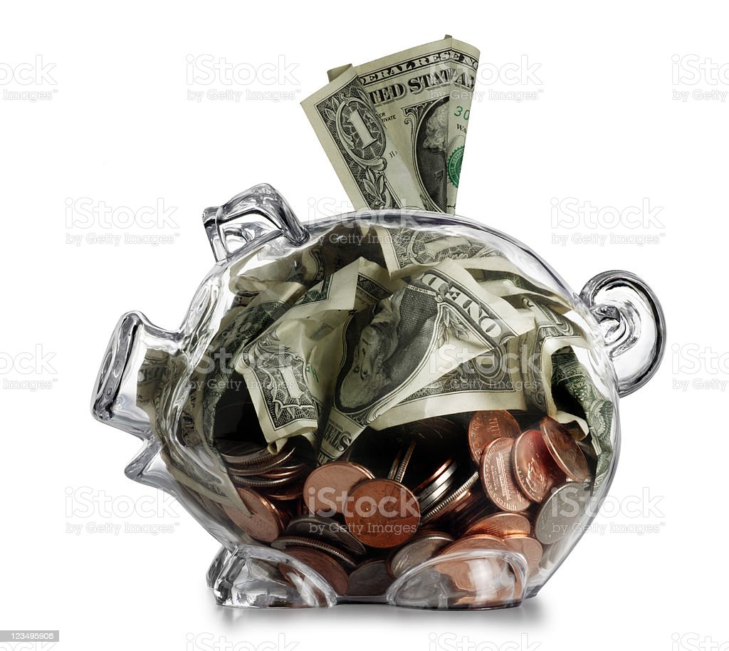 dollar stuffed in piggy bank XXL royalty-free stock photo
