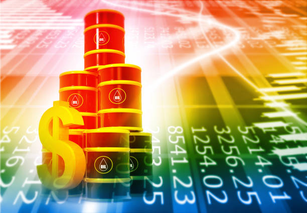 Dollar symbol and oil barrels on stock market graph stock photo