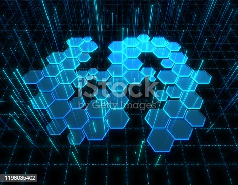 istock Dollar symbol consisting of honeycomb polygons, global transmission and storage of big data, internet security technology 1198035402