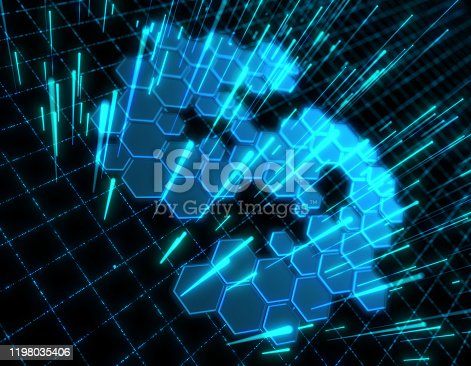 istock Dollar symbol consisting of honeycomb polygons, global transmission and storage of big data, internet security technology 1198035406
