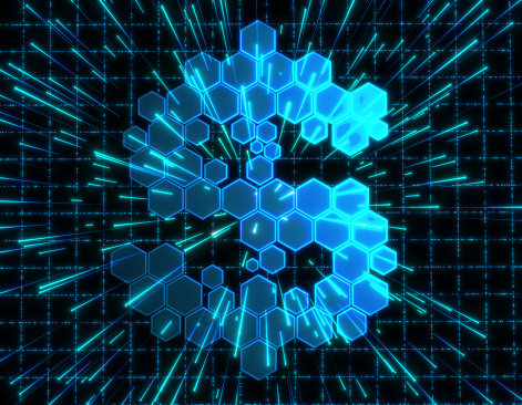 istock Dollar symbol consisting of honeycomb polygons, global transmission and storage of big data, internet security technology 1198035407