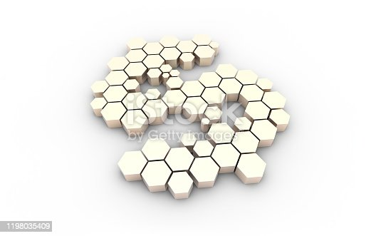 istock Dollar symbol consisting of honeycomb polygons, global transmission and storage of big data, internet security technology 1198035409