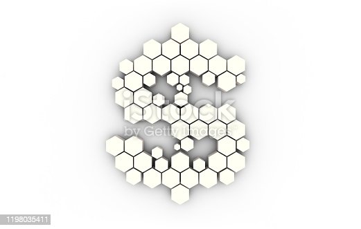 istock Dollar symbol consisting of honeycomb polygons, global transmission and storage of big data, internet security technology 1198035411