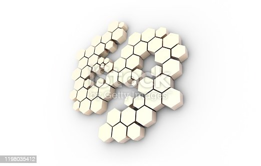 istock Dollar symbol consisting of honeycomb polygons, global transmission and storage of big data, internet security technology 1198035412