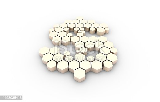 istock Dollar symbol consisting of honeycomb polygons, global transmission and storage of big data, internet security technology 1198035413