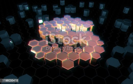 istock Dollar symbol consisting of honeycomb polygons, global transmission and storage of big data, internet security technology 1198035415