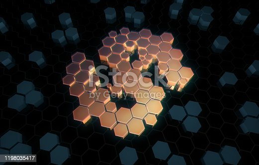 istock Dollar symbol consisting of honeycomb polygons, global transmission and storage of big data, internet security technology 1198035417