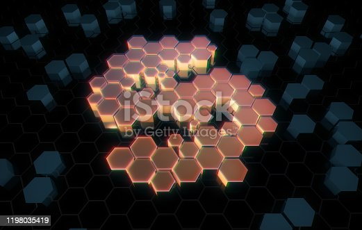istock Dollar symbol consisting of honeycomb polygons, global transmission and storage of big data, internet security technology 1198035419