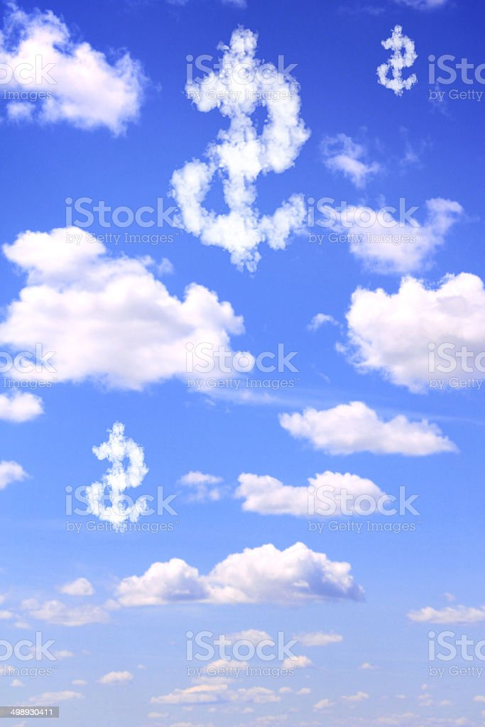 Dollar symbol from clouds royalty-free stock photo