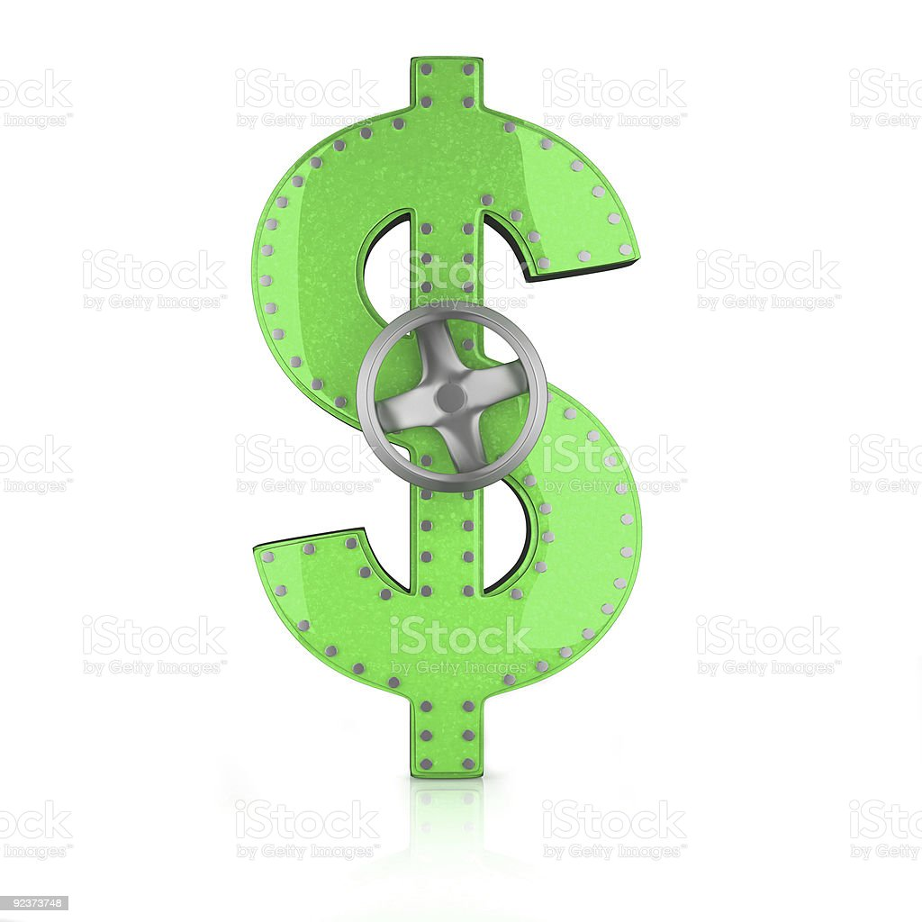 dollar symbol of steel with a handle royalty-free stock photo