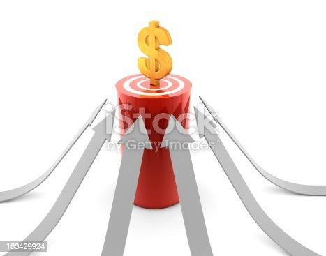 istock Dollar Symbol on Target 183429924