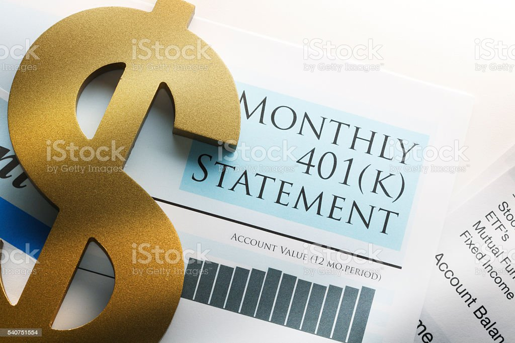 Dollar Symbol On Top Of 401k Statement stock photo