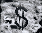 Dollar symbol painted on foam. The concept of offshore, laundering dirty, illegal money. Corruption and bribery. Close up. Car wash.