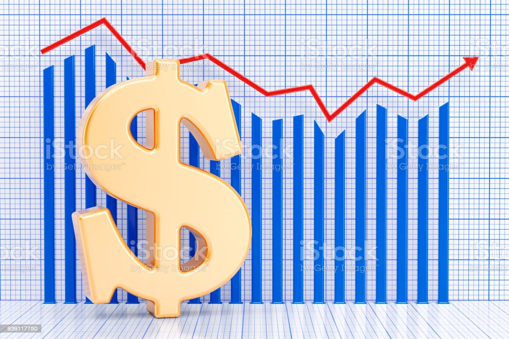 Dollar symbol with growing chart. 3D rendering stock photo