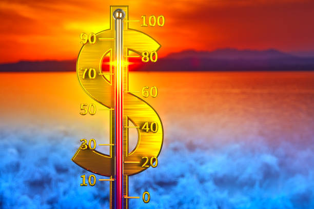 Dollar thermometer concept stock photo
